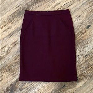 Loft Maroon Pencil Skirt Size 0